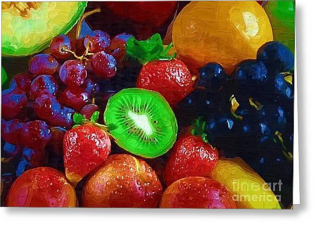 Yummy Fresh Fruit Greeting Card by Deborah Selib-Haig DMacq