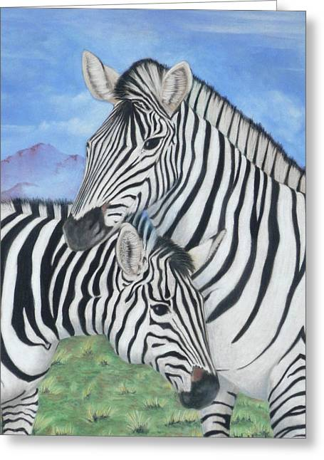 Zebras Greeting Card by Charles Hubbard