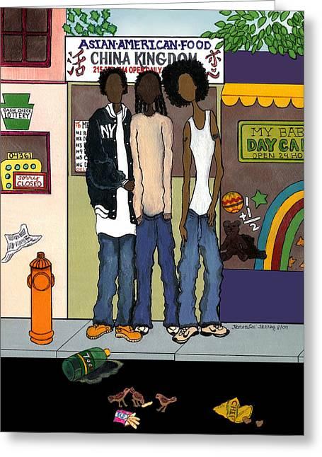 Zee Hoody Boyz Greeting Card by Karen-Lee