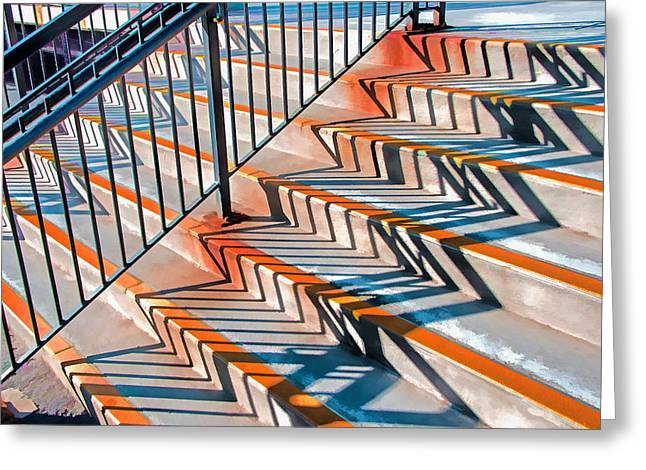 Zig Zag Shadows On Train Station Steps Greeting Card