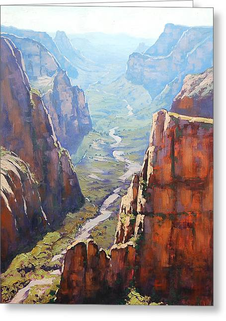 Zion Canyon Greeting Card by Graham Gercken