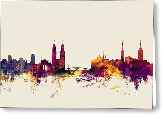 Zurich Switzerland Skyline Greeting Card by Michael Tompsett