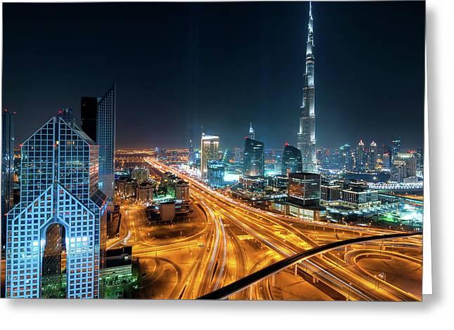 Amazing Night Dubai Downtown Skyline, Dubai, United Arab Emirates Greeting Card