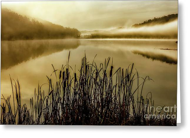 Autumn Mist On Lake Greeting Card