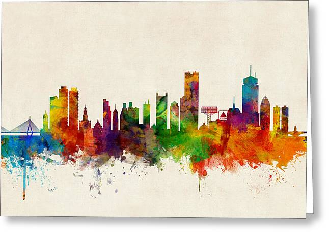 Boston Massachusetts Skyline Greeting Card by Michael Tompsett