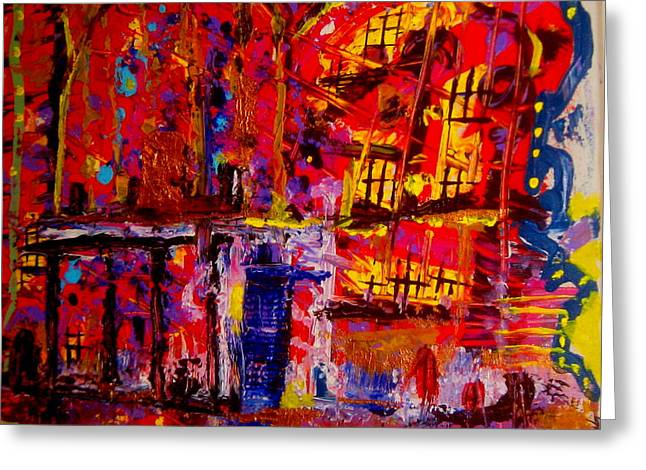 Recently Sold -  - Abstract Expression Greeting Cards - Church On Fire Greeting Card by Allen n Lehman
