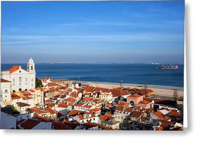 City Of Lisbon In Portugal Greeting Card by Artur Bogacki