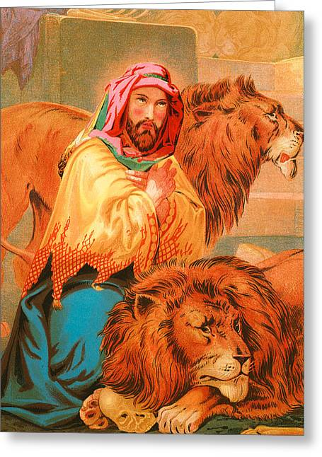 Daniel In The Lions' Den Greeting Card by English School