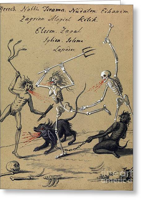 Demonology, 18th Century Greeting Card by Wellcome Images