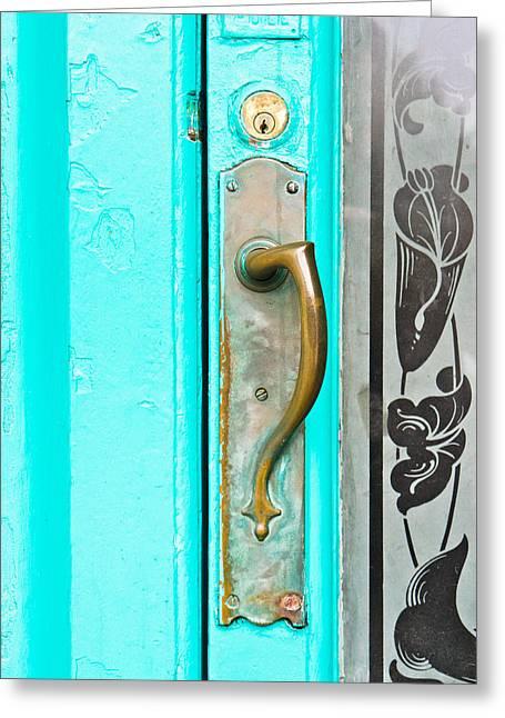 Door Handle Greeting Card by Tom Gowanlock