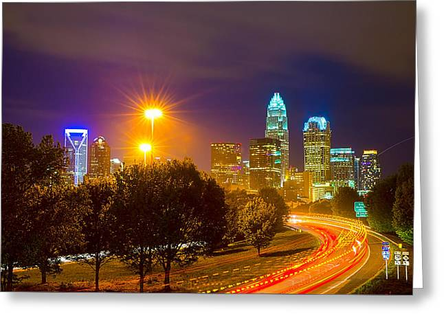 Downtown Of Charlotte  North Carolina Skyline Greeting Card by Alex Grichenko