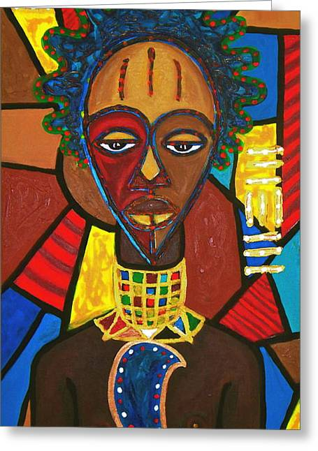 Blackart Greeting Cards - From The Hill And Beyond Greeting Card by Malik Seneferu