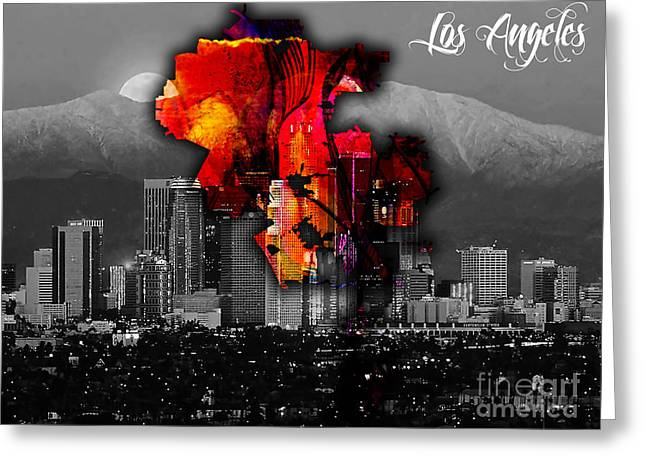 Los Angeles Map And Skyline Greeting Card