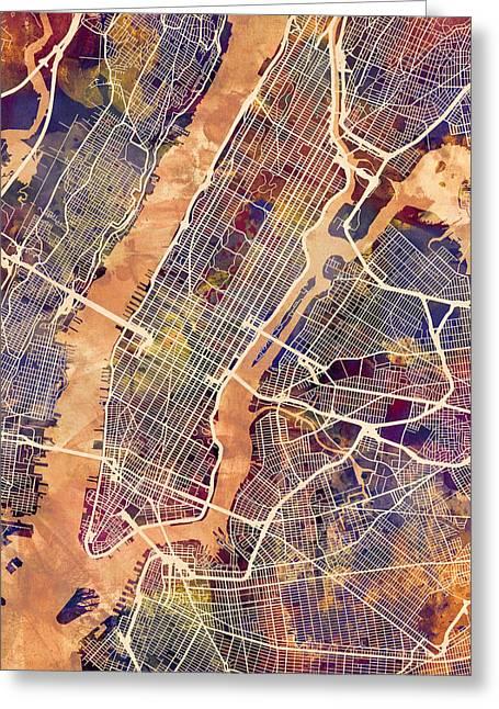 New York City Street Map Greeting Card by Michael Tompsett