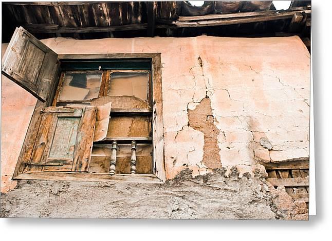 Old Window Greeting Card by Tom Gowanlock
