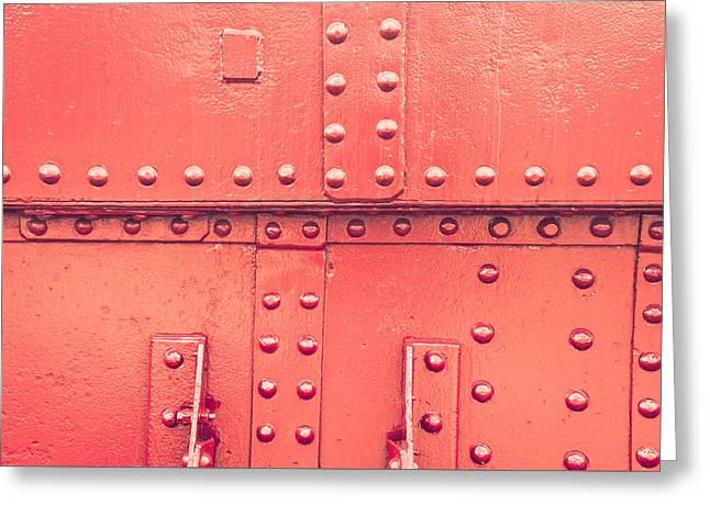 Red Metal Greeting Card by Tom Gowanlock