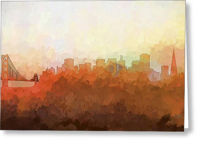 Greeting Card featuring the digital art San Francisco California Skyline by Marlene Watson