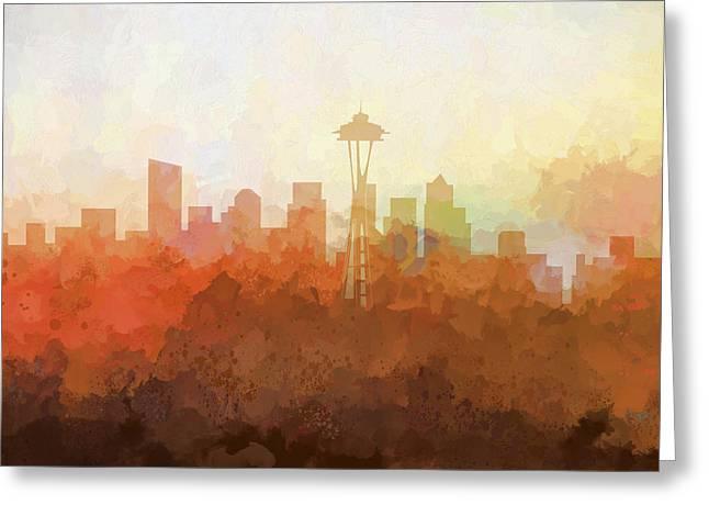 Greeting Card featuring the digital art Seattle Washington Skyline by Marlene Watson