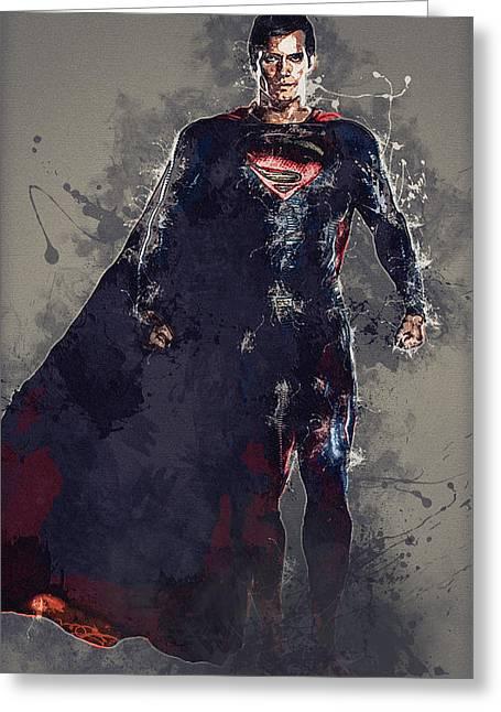Superman Greeting Card by Elena Kosvincheva