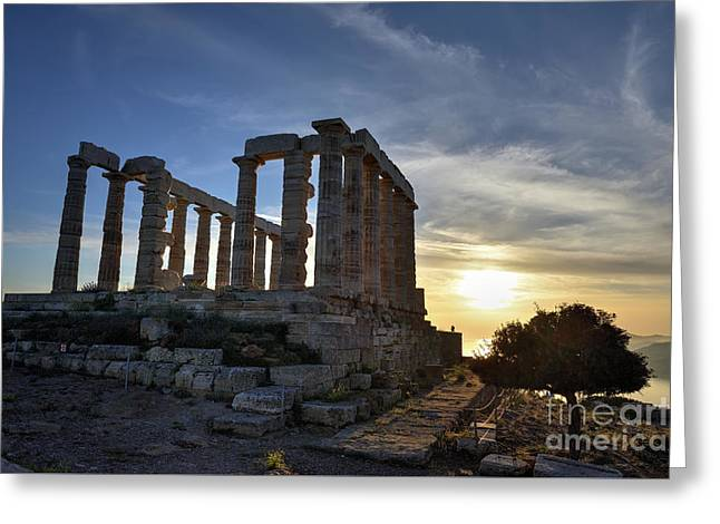 Temple Of Poseidon During Sunset Greeting Card