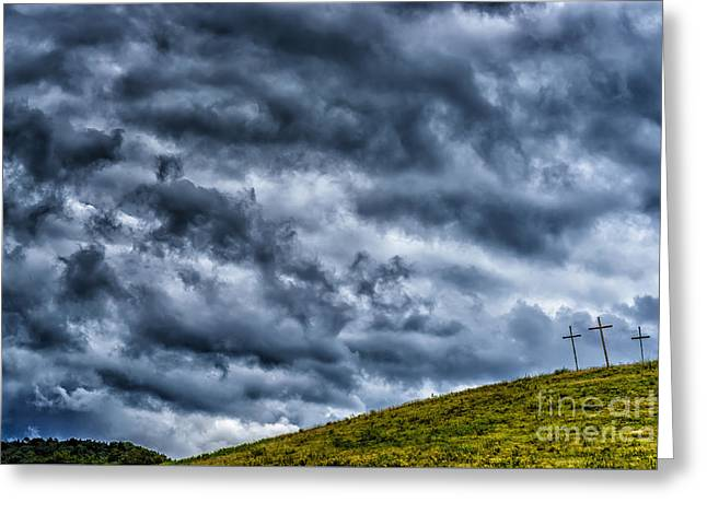 Three Crosses On Hill Greeting Card by Thomas R Fletcher