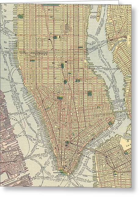 Vintage Map Of New York City  Greeting Card by CartographyAssociates