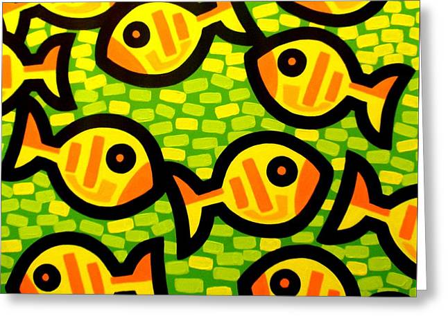 10 Yellow Fish Greeting Card by John  Nolan