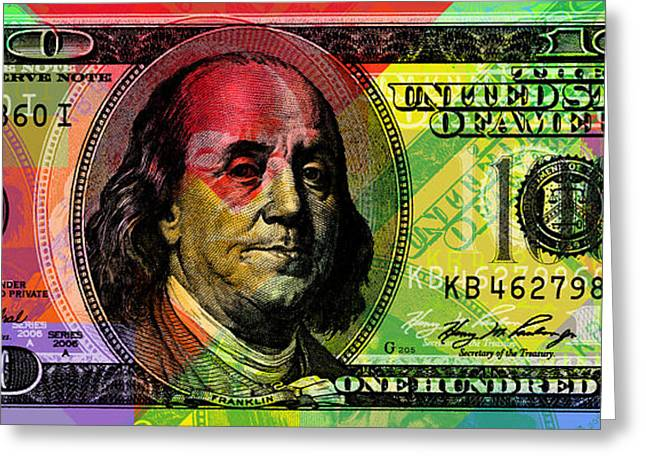 Benjamin Franklin - Full Size $100 Bank Note Greeting Card