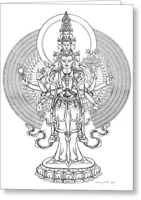Bodhisatva Greeting Cards - 1000-Armed Avalokiteshvara Greeting Card by Carmen Mensink