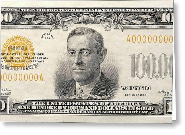 $100,000 Bill Circa 1934 Greeting Card by Jon Neidert