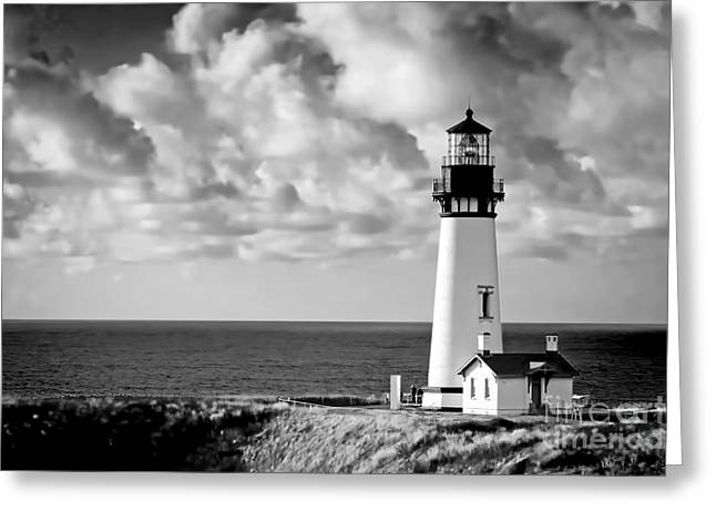 1002 Yaquina Bay Lighthouse Greeting Card by Steve Sturgill