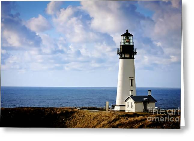 1003 Yaquina Bay Lighthouse Greeting Card by Steve Sturgill