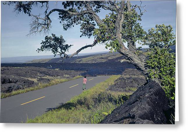 Greeting Card featuring the photograph 100924 Lava Covered Road Hi by Ed Cooper Photography