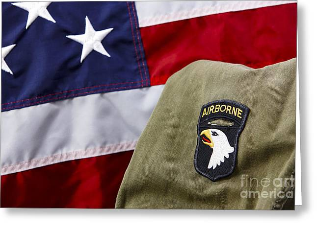 101st Airborne Division Screaming Eagles Patch On Vietnam Era Uniform In Front Of United States Of America Flag Greeting Card