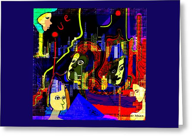 103 -   Psychedelic City Night .. Greeting Card by Irmgard Schoendorf Welch