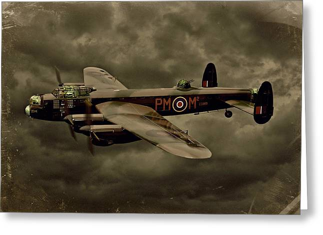 Steven Agius Greeting Cards - 103 Squadron Avro Lancaster Greeting Card by Steven Agius