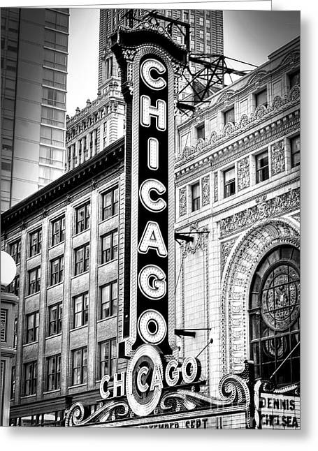 1077 Chicago Theater Black And White Greeting Card