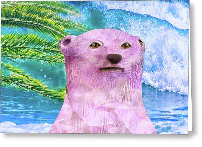10792 Pink Polar Bear In Paradise Greeting Card by Pamela Williams