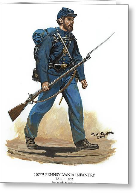 107th Pennsylvania Infantry Regiment - Fall Of 1862 Greeting Card by Mark Maritato