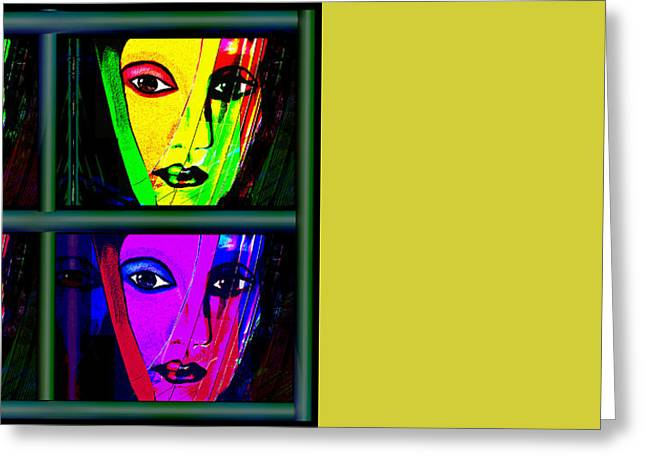 1085 - Triptychon Pop Colours 2017 Greeting Card by Irmgard Schoendorf Welch