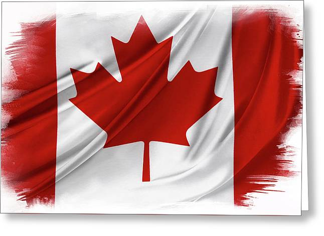 Canadian Flag  Greeting Card by Les Cunliffe