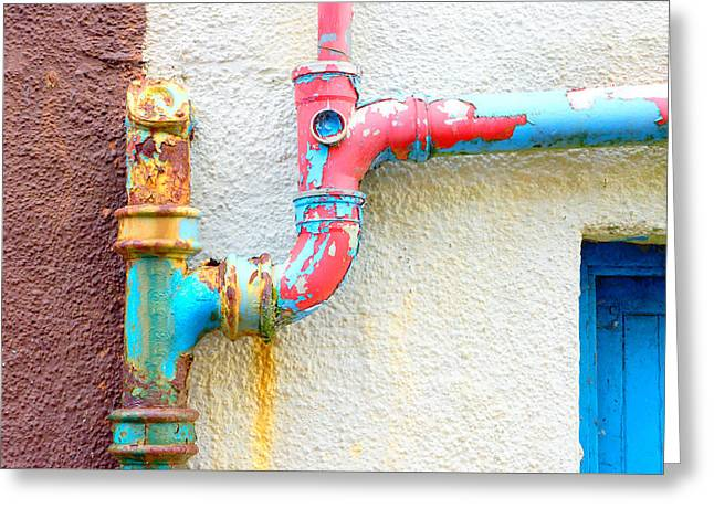 Drainpipe Greeting Card by Tom Gowanlock