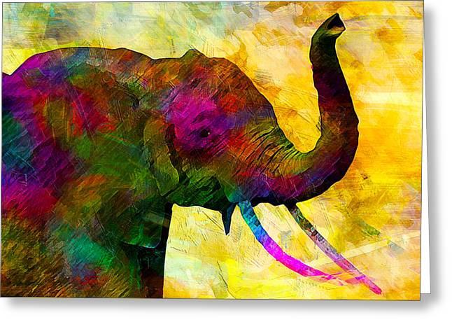 Elephant Greeting Card by Elena Kosvincheva