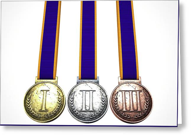 First Second And Third Medals Greeting Card