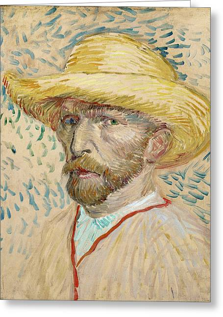 Self - Portrait With Straw Hat Greeting Card by Vincent Van Gogh