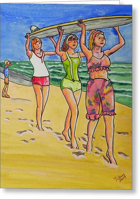 Surf Art Greeting Card by W Gilroy