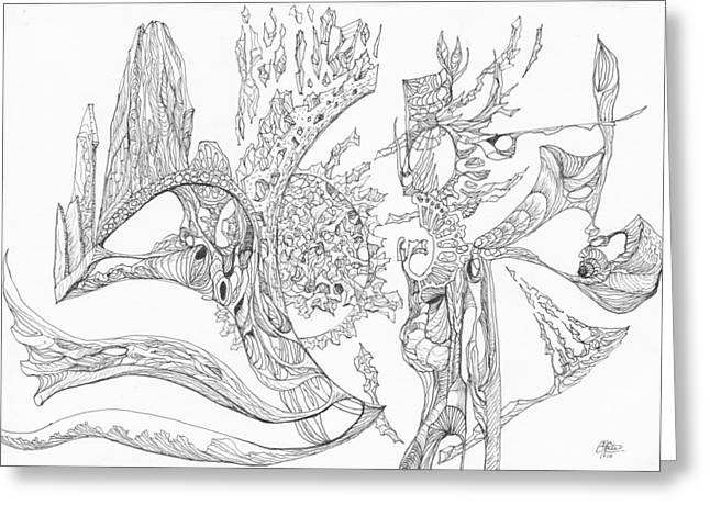 Organic Drawings Greeting Cards - 1110-6 Greeting Card by Charles Cater