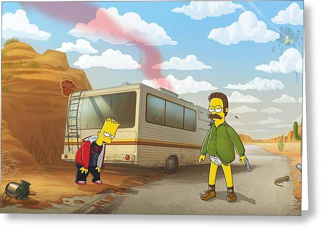 11746 The Simpsons Breaking Bad Humor Ned Flanders Bart Simpson Crossover Rv Greeting Card