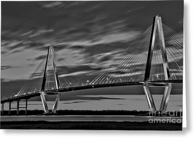Ravenel Bridge Black And White Sunset Greeting Card by Adam Jewell