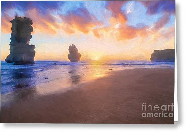 12 Apostles With Marshmallow Skies    Og Greeting Card